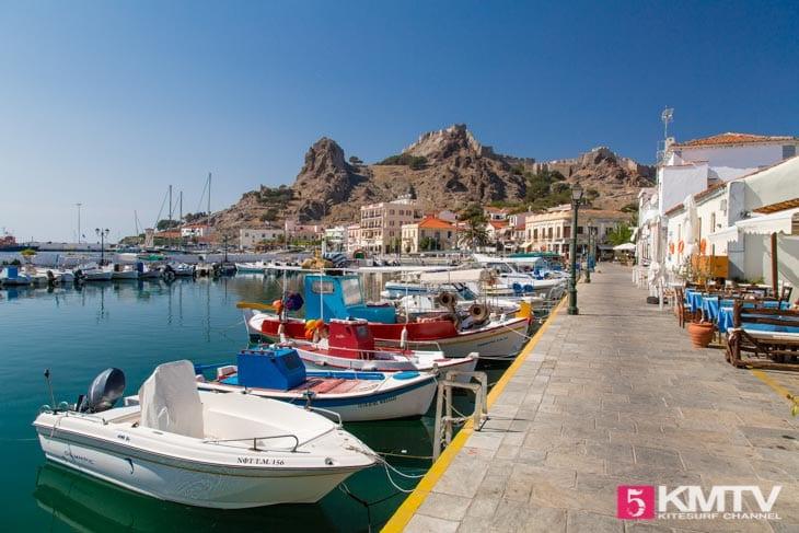 Hafen Myrina - Limnos Griechenland Kitereisen und Kitesurfen
